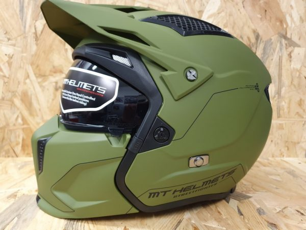 Casque transformable mt helmets streetfigter vert mat